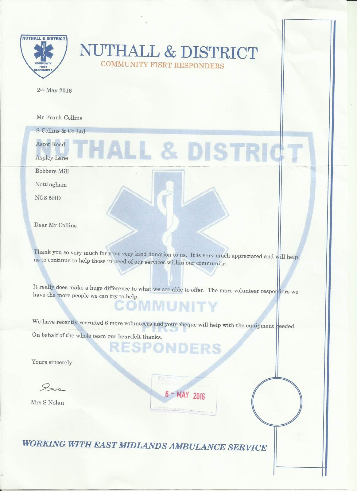 Donation for Nuthall & District Community First Responders
