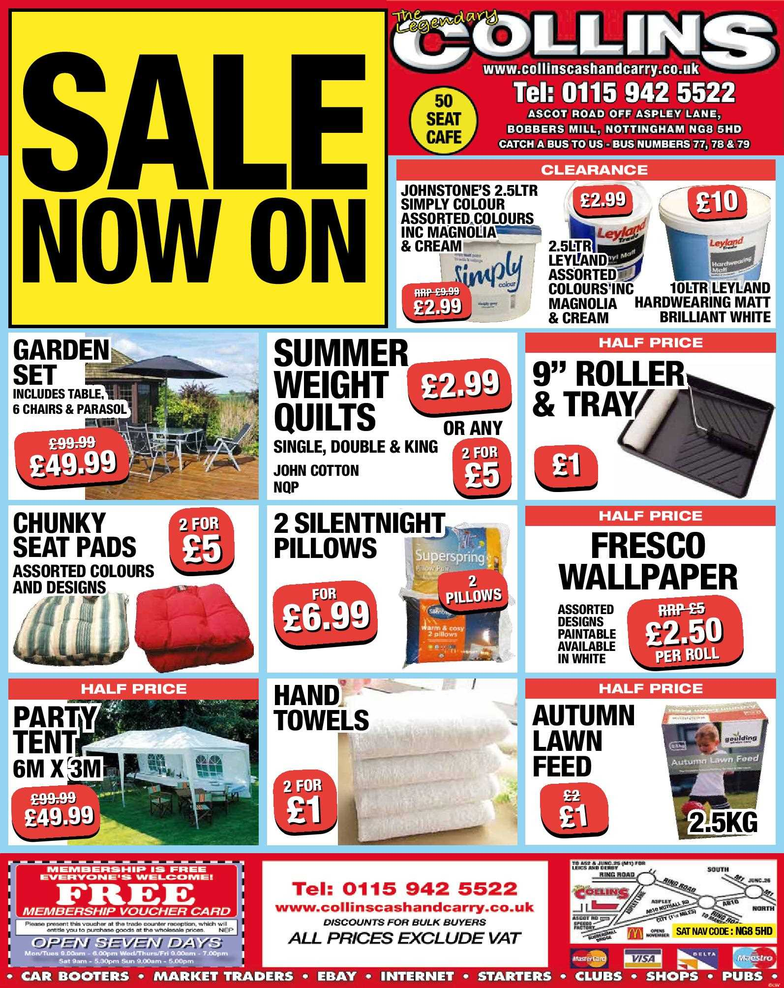 Nottingham Collins Cash and Carry Special Deals from 04-08-2017
