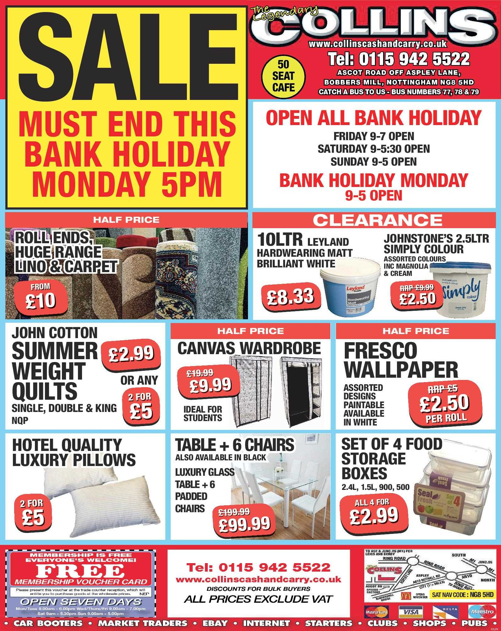 New Deals and Opening Times for the Bank Holiday Collins Cash and Carry