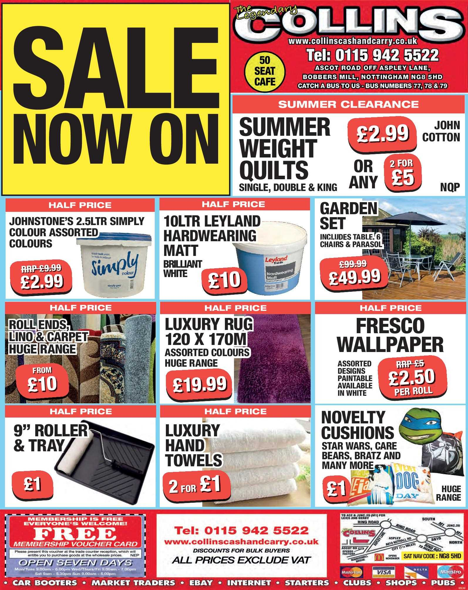 Nottingham Collins Cash and Carry Special Deals from 01-08-2017
