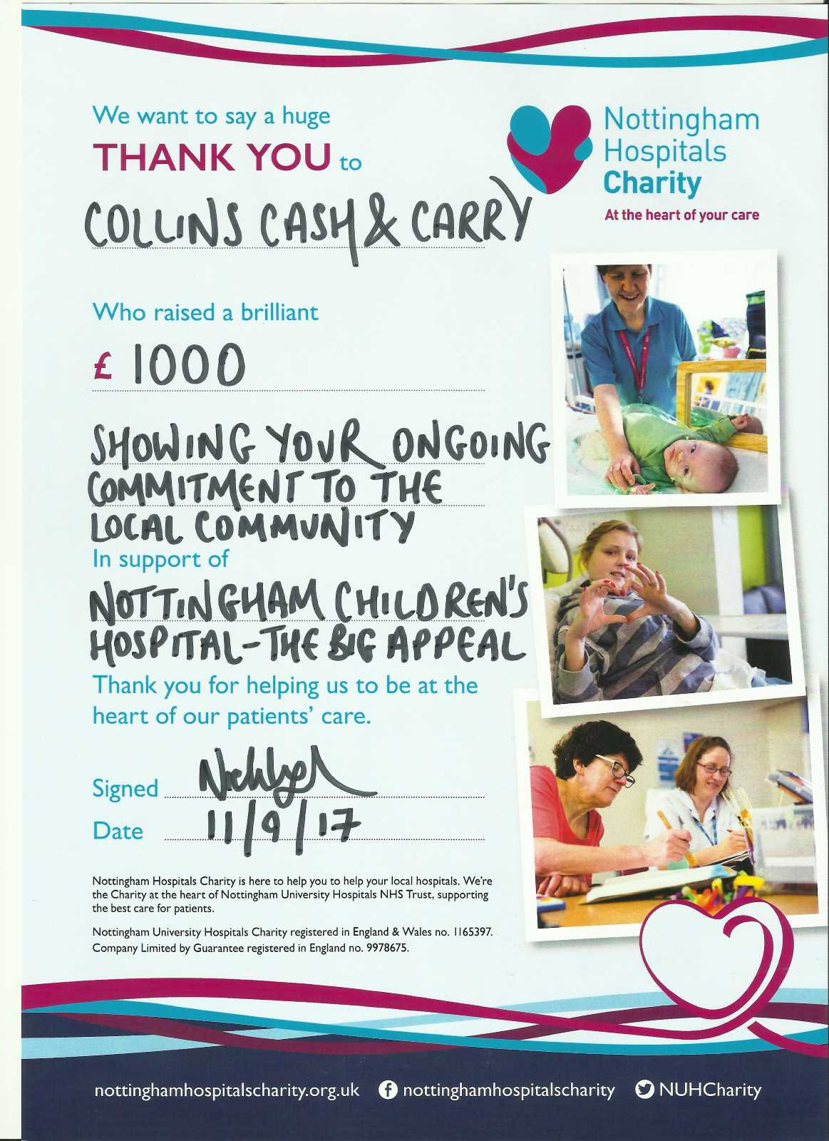 Our support for local charity projects: Nottingham Hospitals Charity